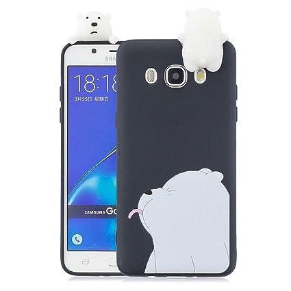 Funluna Funda Samsung Galaxy J7 2016, 3D Oso Patrón Ultra Delgado TPU Cover Suave Silicona Carcasa Gel Anti-Rasguño Protectora Espalda Bumper Case ...