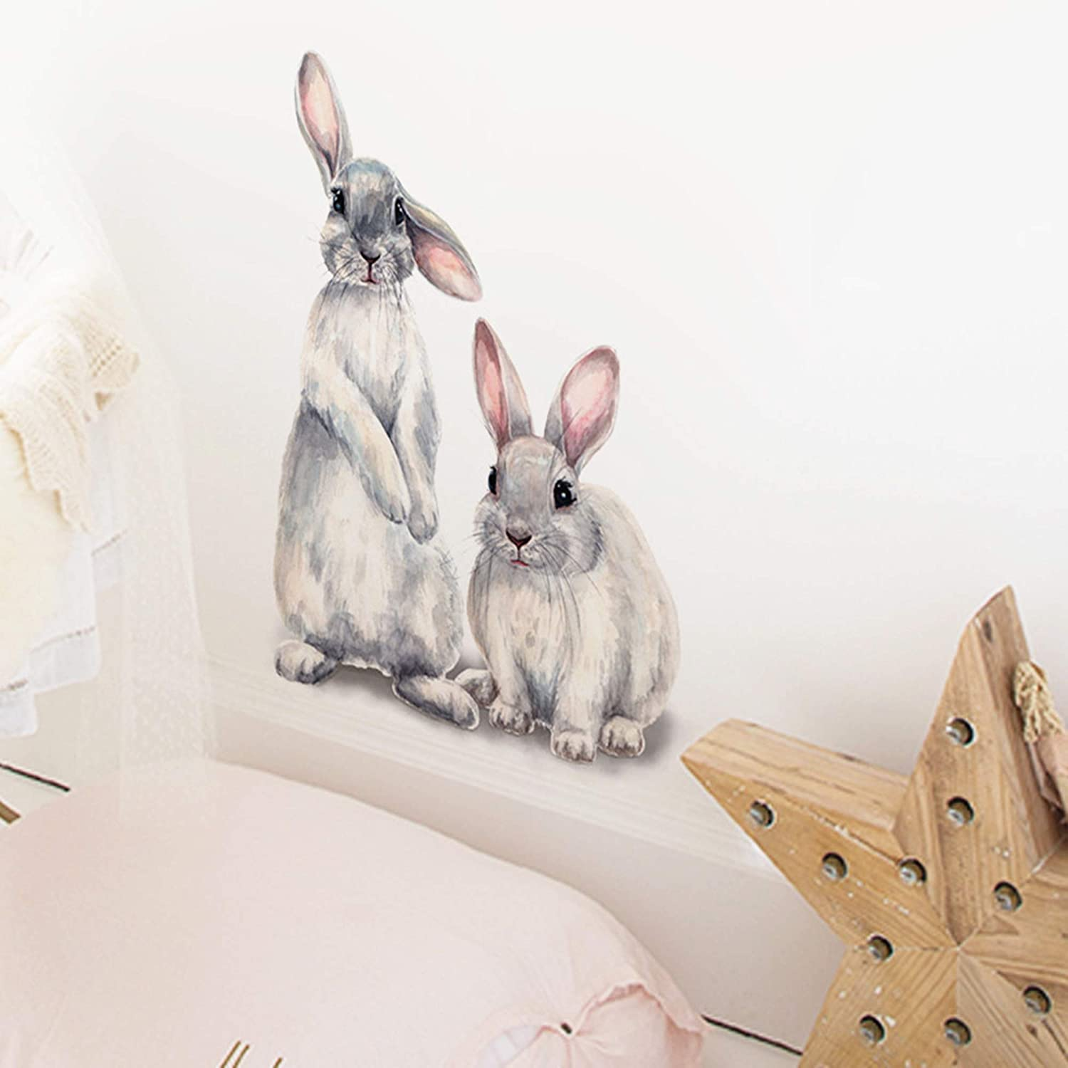ROFARSO Lifelike Lovely Cute Two Bunnies Rabbits Animal 3D Vinyl Wall Stickers Removable Wall Decals Art Decorations Decor for Nursery Baby Bedroom Playroom Living Room Murals