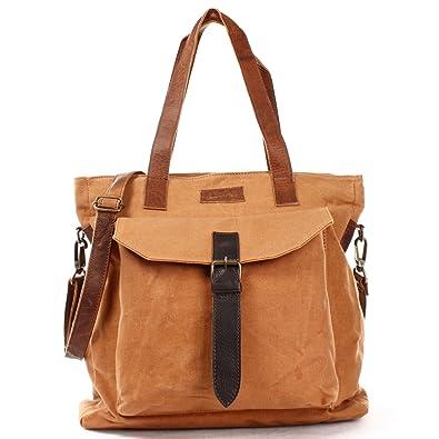 XL Shopper Canvas Leder große Damentasche im Vintage-Style Shopping-Bag Einkaufstasche Damen Schultertasche DIN A4 Beuteltasche 36x37x13cm grün LE0045-C Leconi xDoxr7Mj0s