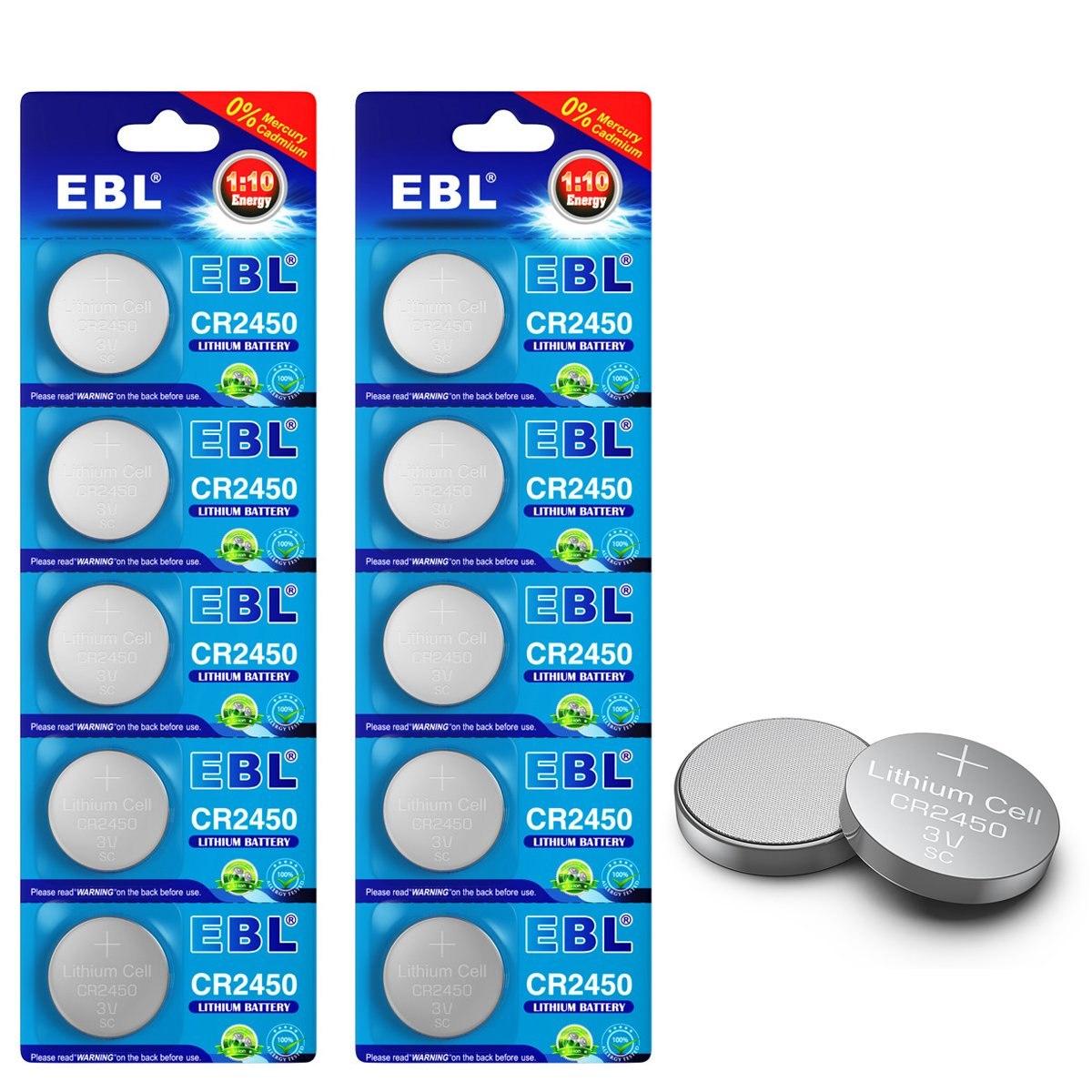 EBL 10pcs CR2450 Battery 630mAh CR2450H High Capacity 3V Lithium Battery (Not CR2450N) Special for Flameless Candles Window Sensors