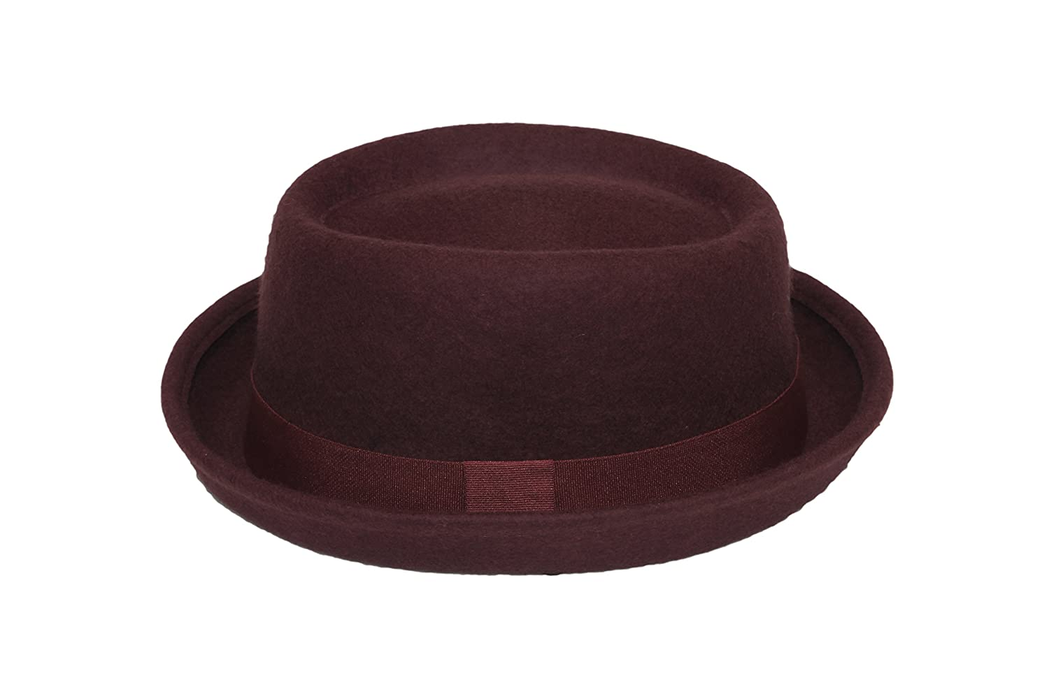 Hat Pork Pie Trilby 100% wool felt unisex band brim fedora jazz