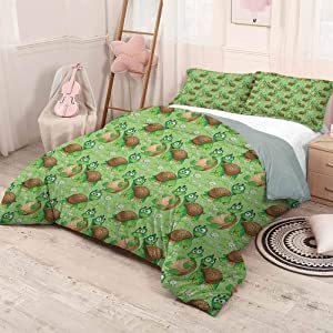 prunushome Nursery Modern Duvet Cover SetPattern with Cartoon Funny Turtles on Green Spring Meadow with Daisies Zipper Closure Modern Lightweight Green Brown Sand Brown Full