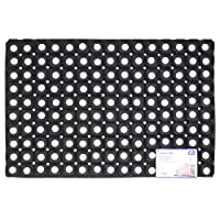 JVL Rondo Rubber Ring Heavy Duty Outdoor Entrance Door Mat, Rubber, Black, 40 x 60 cm