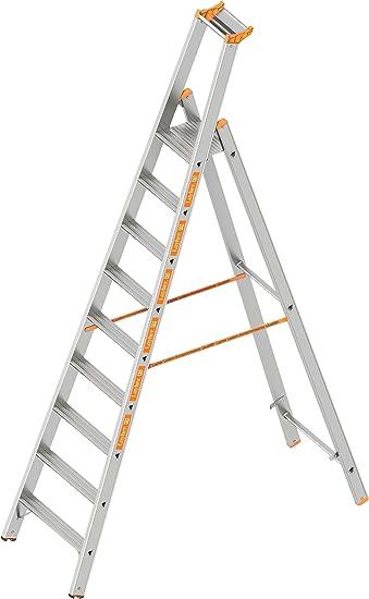Layher 1064009 HYMER – Escalera de tijera (Topic con 9 Amplia peldaños, aluminio escalera plegable con porche, longitud 2,95 m: Amazon.es: Bricolaje y herramientas