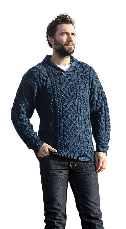 Mens Wool Shawl Irish Collar Sweater Carraig Donn
