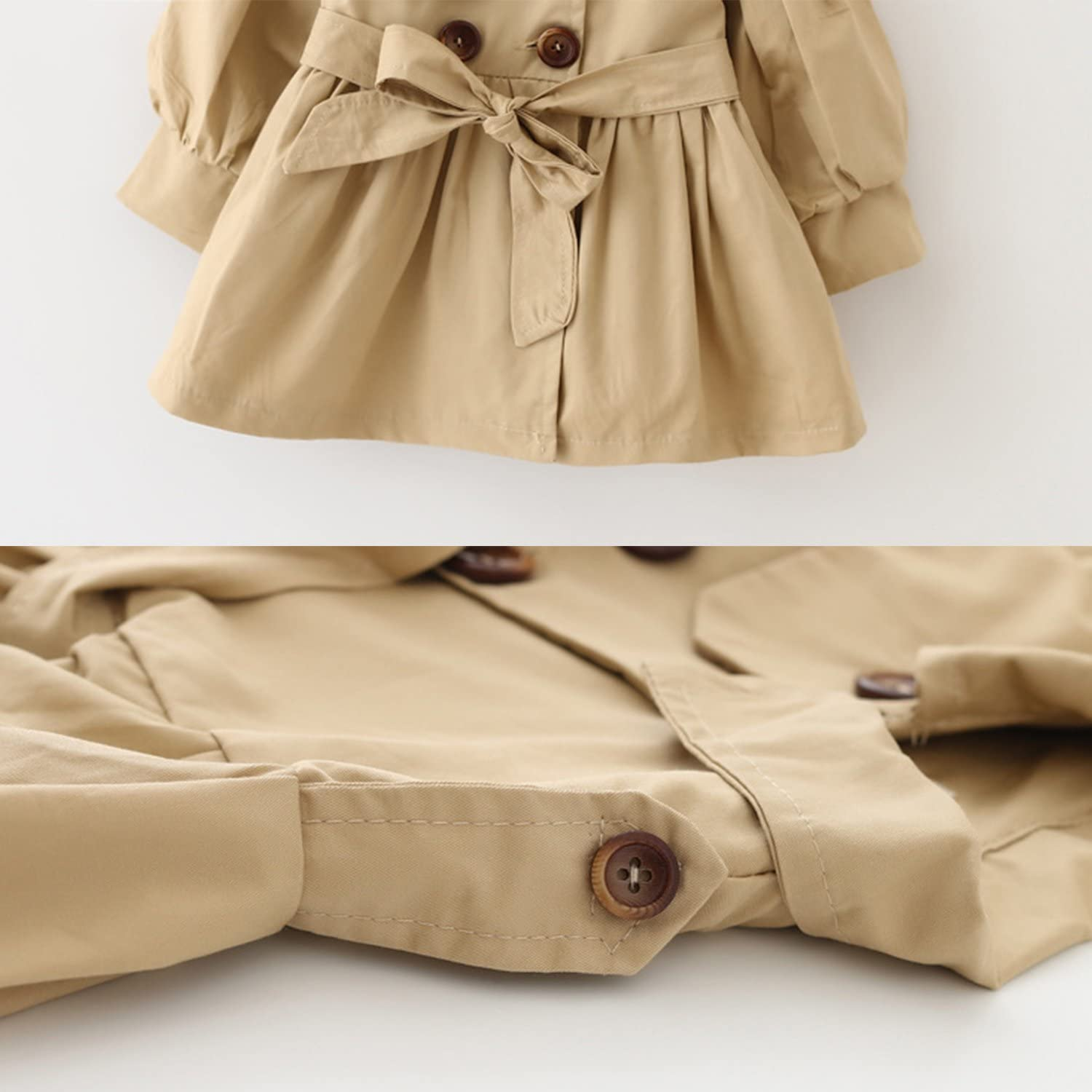 Toddler Baby Girls Bowknot Trench Coat with Belt Princess Autumn Windbreaker Jacket
