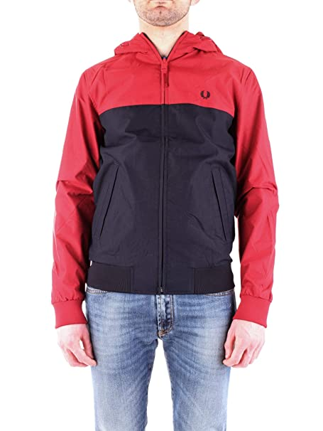 0d26b804372847 Amazon.com: Fred Perry Men's Hooded Panelled Jacket J5515 A25 Red ...