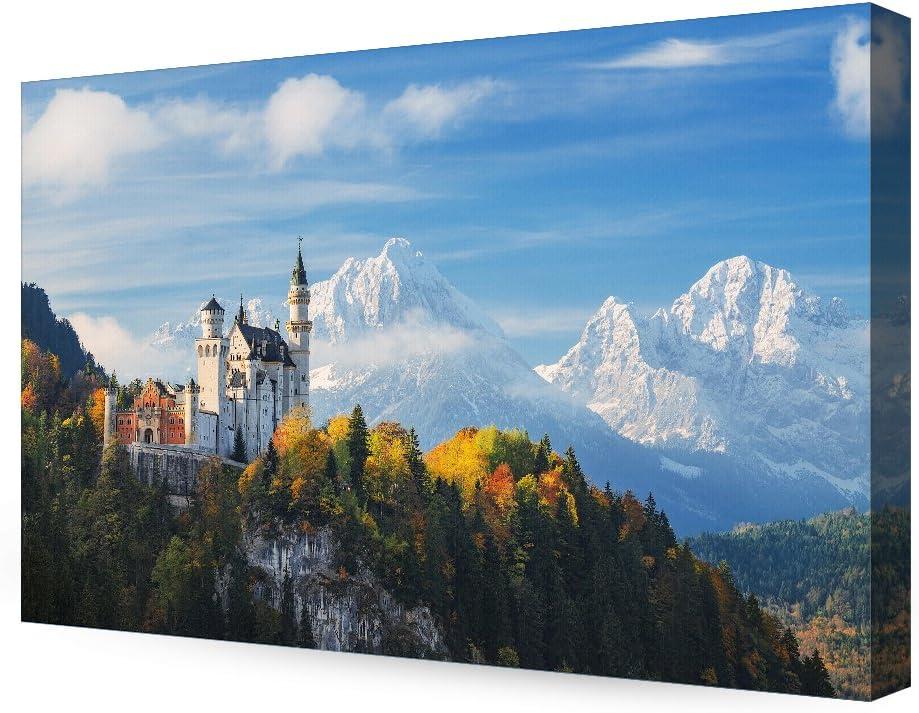 DECORARTS- The Neuschwanstein Castle, Giclee Print on Canvas Wall Art for Home Decor. 36x24x1.5