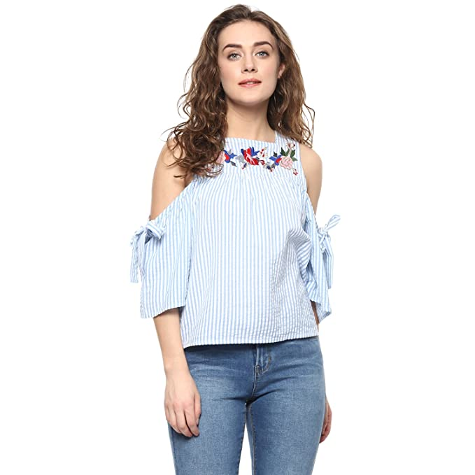 644141fab3aa69 Bohobi Women Blue Embroidered Cold Shoulder Top  Amazon.in  Clothing ...