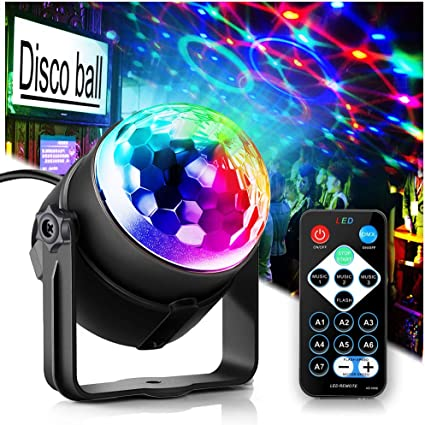 9 Colors Disco Lights DJ Party Lights for Wedding//Birthday//Dance Xmas Party Sound Activated Party Lights Disco Ball Lamp with Remote Control Wireless Phone Connection Stage Light