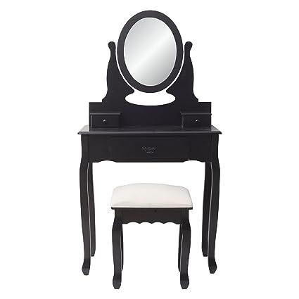 Mobili Rebecca® Consolle Tavolo da Trucco Nero Moderno con Sgabello ...