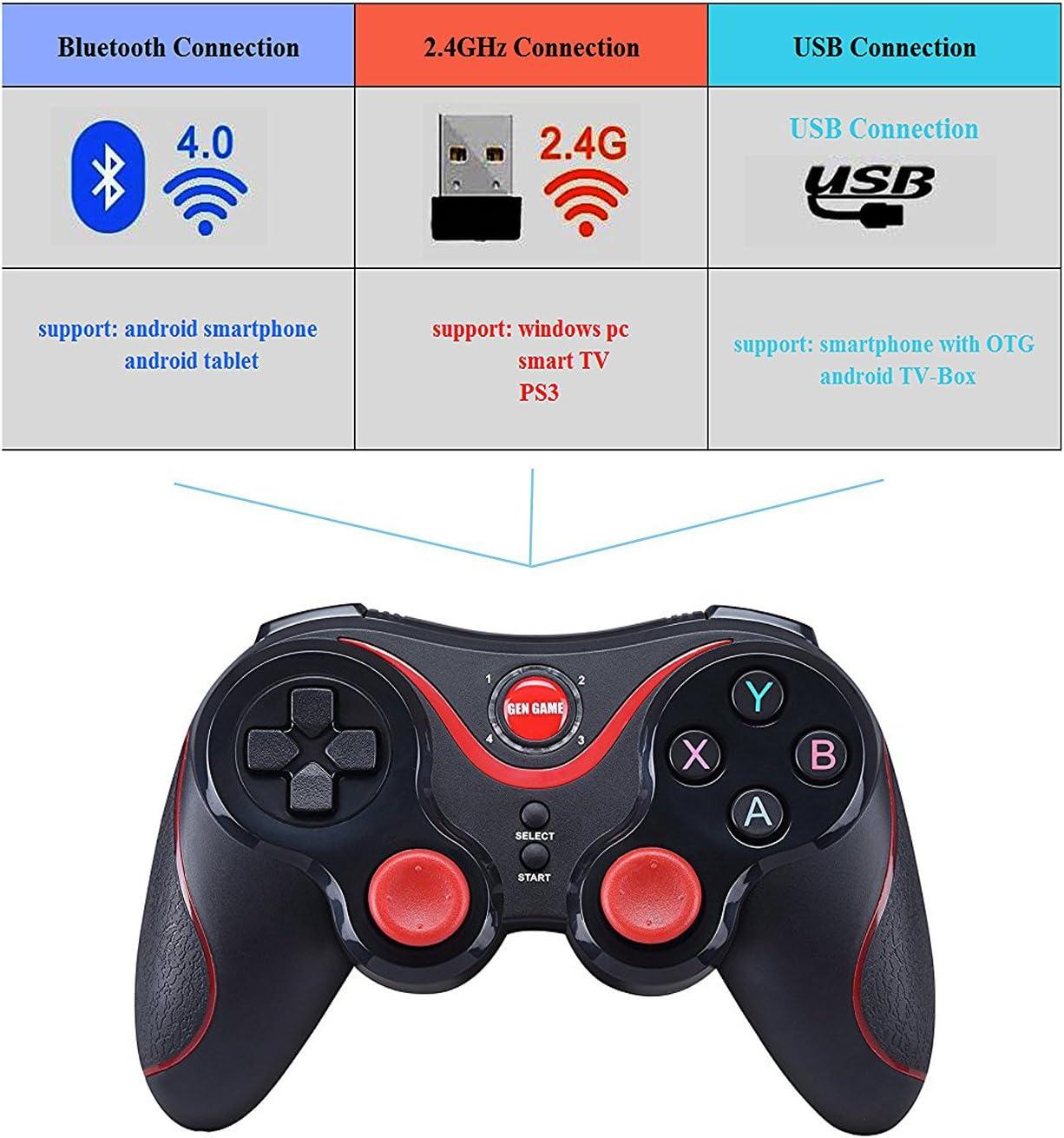 Maegoo Mando Inalámbrico para Juegos, 2.4GHz Bluetooth Game Controller Gamepad Joystick Inalámbrico con Soporte de Teléfono para Android Smartphone Xiaomi Huawei Samsung PC Windows PS3 Smart TV etc.: Amazon.es: Videojuegos