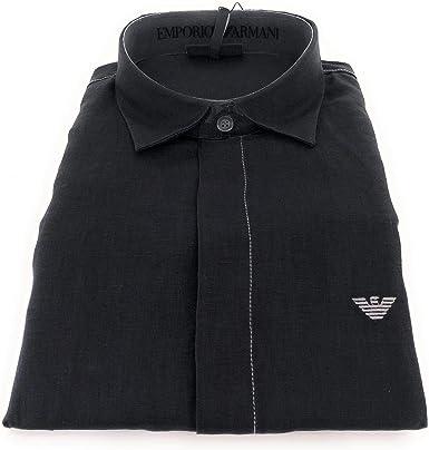 Emporio Armani Camisa de hombre de puro lino (Regular Fit) azul marino azul navy XXL: Amazon.es: Ropa y accesorios