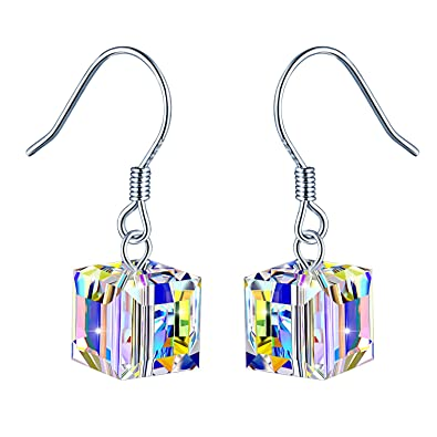 3ceff70bb43ff MicLee 925 Sterling Silver Austrian Crystal Cube Earrings Drops Fish ...