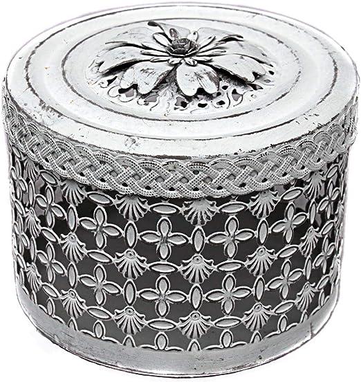 Vintage decoración Caja de Metal con Flores Tapa de Color Blanco Crema Gris Shabby Chic: Amazon.es: Juguetes y juegos