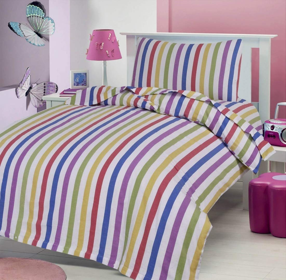 CANDY STRIPE 100% BRUSHED SOFT COTTON THERMAL FLANELETTE SHEET SET FITTED FLAT & PILLOWCASE COT BED/ TODDLER BED 70 X 140 CM Love2Sleep