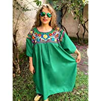 c71697ff384a Women s Mexican Loose Dress Green Embroidery Floral Tunic Plus Size