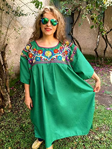 cc5306258ff025 Image Unavailable. Image not available for. Color: Women's Mexican Loose  Dress Green Embroidery Floral Tunic Plus Size