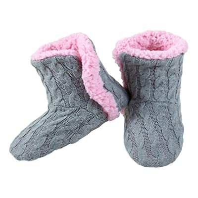 Yelete Womens Cable Knit Slippers House Booties Socks Soft Sherpa Lining Rubber Soles