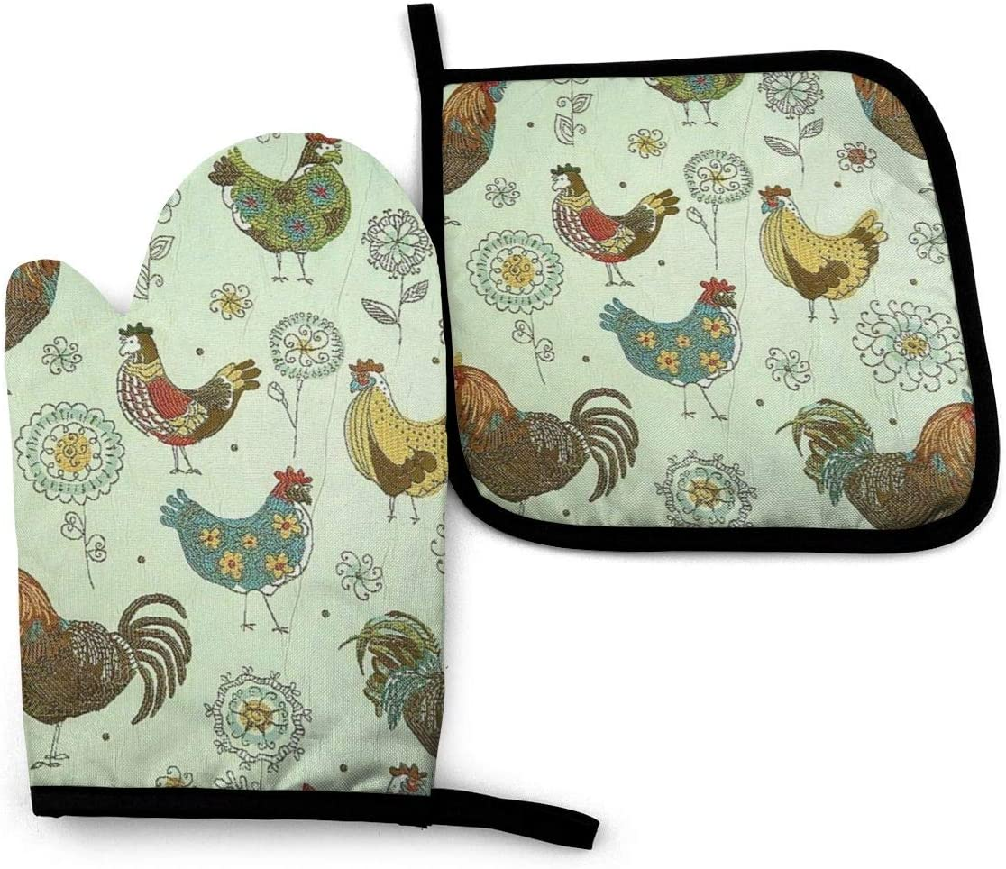 Green Floral Quilted Chicken Potholder