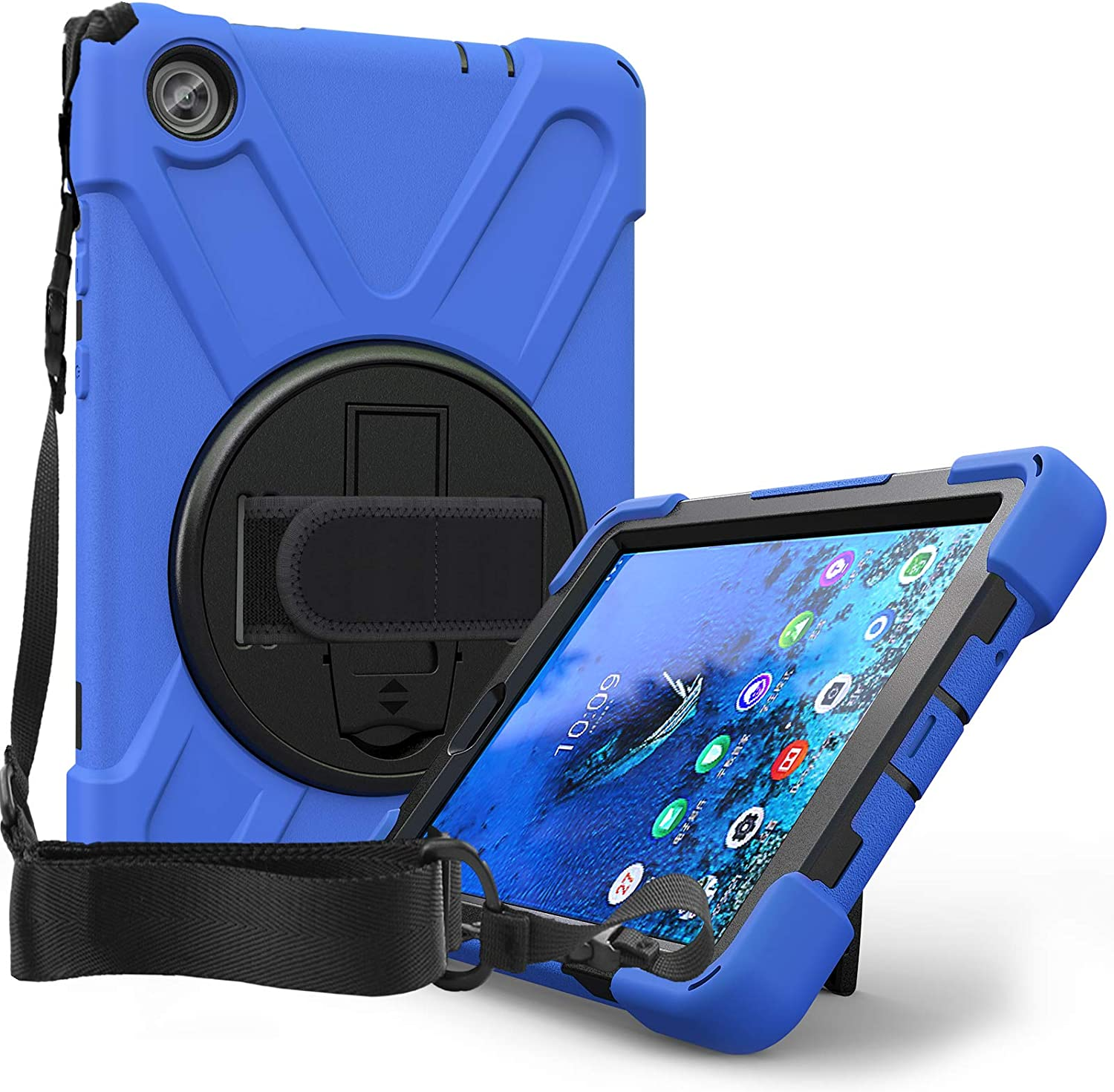 Case for Lenovo Tab M8 HD 8.0 inch Tablet TB-8505F TB-8505X TB-8505 | Herize Full Body High Impact Resistant Kidsproof Drop Protection Silicone Case W/ Hand Strap for Lenovo Smart Tab M8 | Blue