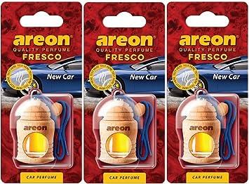Areon Fresco Auto Duft New Car Neues Auto Neuwagen Blau Glas Duftflakon Holz Flakon Set Hängend Anhänger Spiegel 4ml Pack X 3 Auto