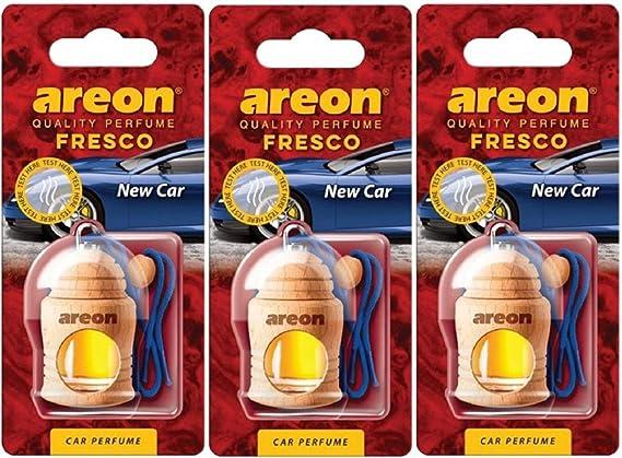 Set x 3 AREON Fresco Auto Lilla Fiore Deodorante da Appendere Specchietto Pendente Boccetta Viola Legami 3D