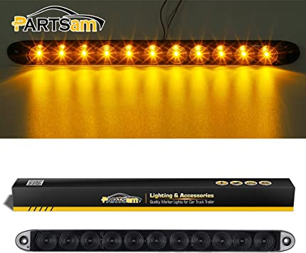 Super Thin Yellow Led Strip ID Light Bar P//T//C Parking Lights Partsam 2x Clear Lens Flange Mount 15 Turn Signal Marker light Bar Amber 11LED Waterproof for Trucks Trailers RV Boat