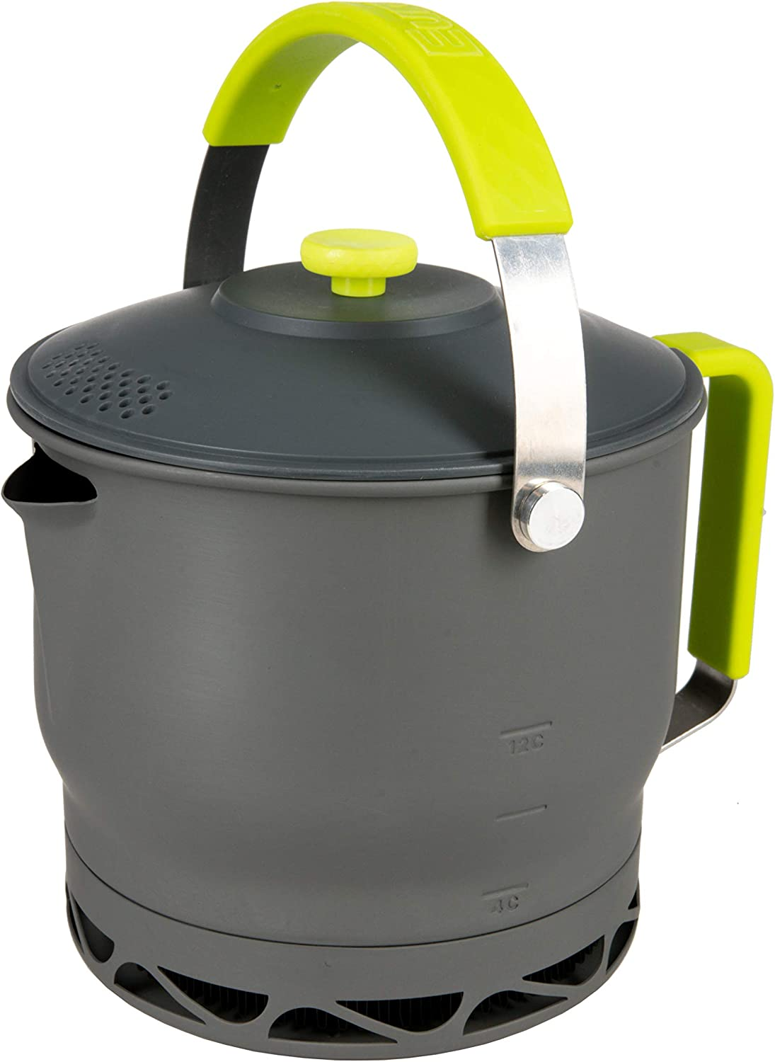 Image of a coffee-maker kettle style with gray body and yellow-green handle.