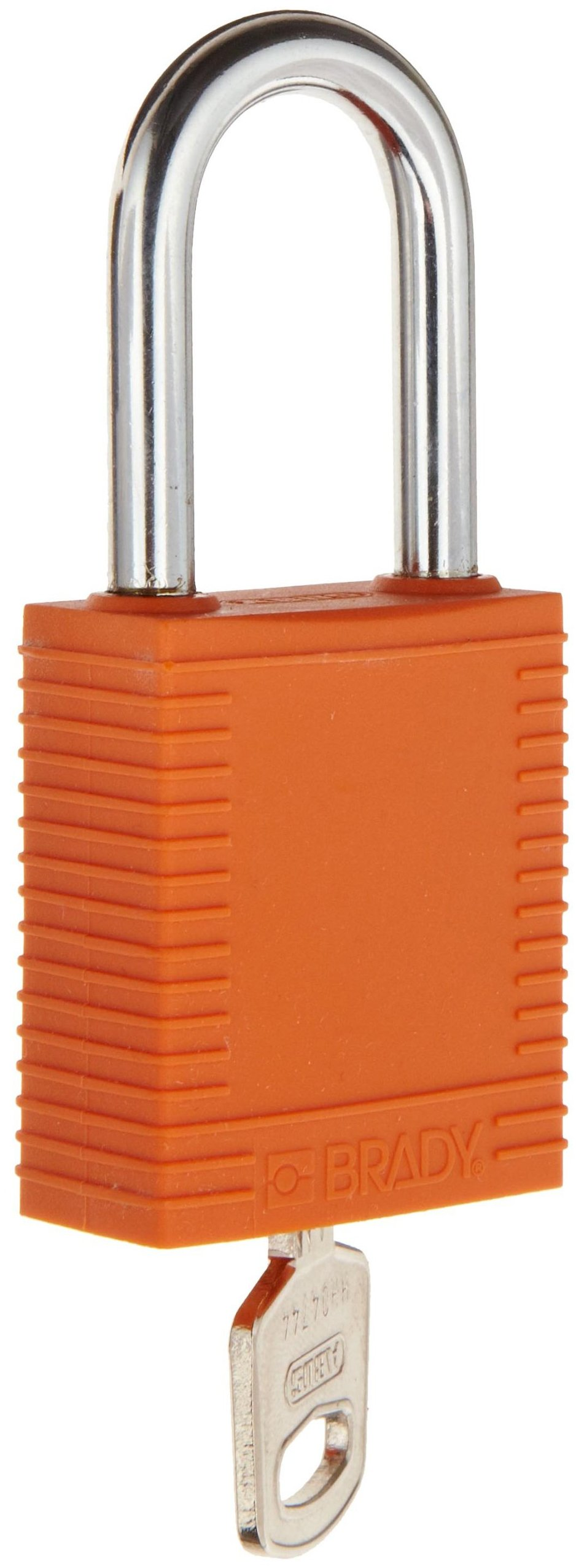 Brady Plastic Lockout/Tagout Padlock, Keyed Different, 1-3/4'' Body Length, 1-1/2'' Shackle Clearance, Orange (Pack of 6)