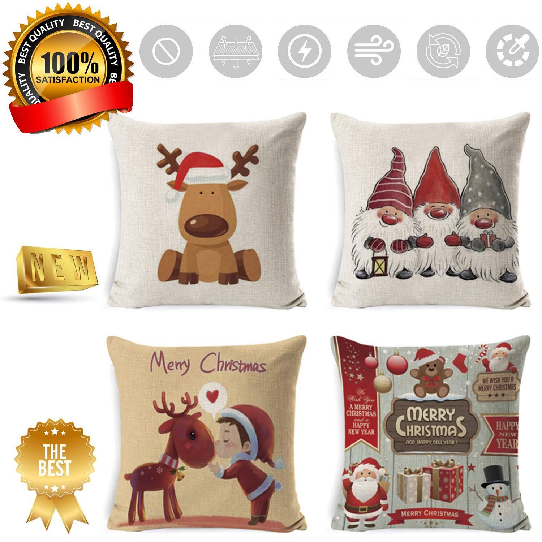 A Sunshine smile Coussin taie doreiller no/ël,Housse de Coussin Noel,Christmas Pillow Covers,Housse de Coussin Decoration