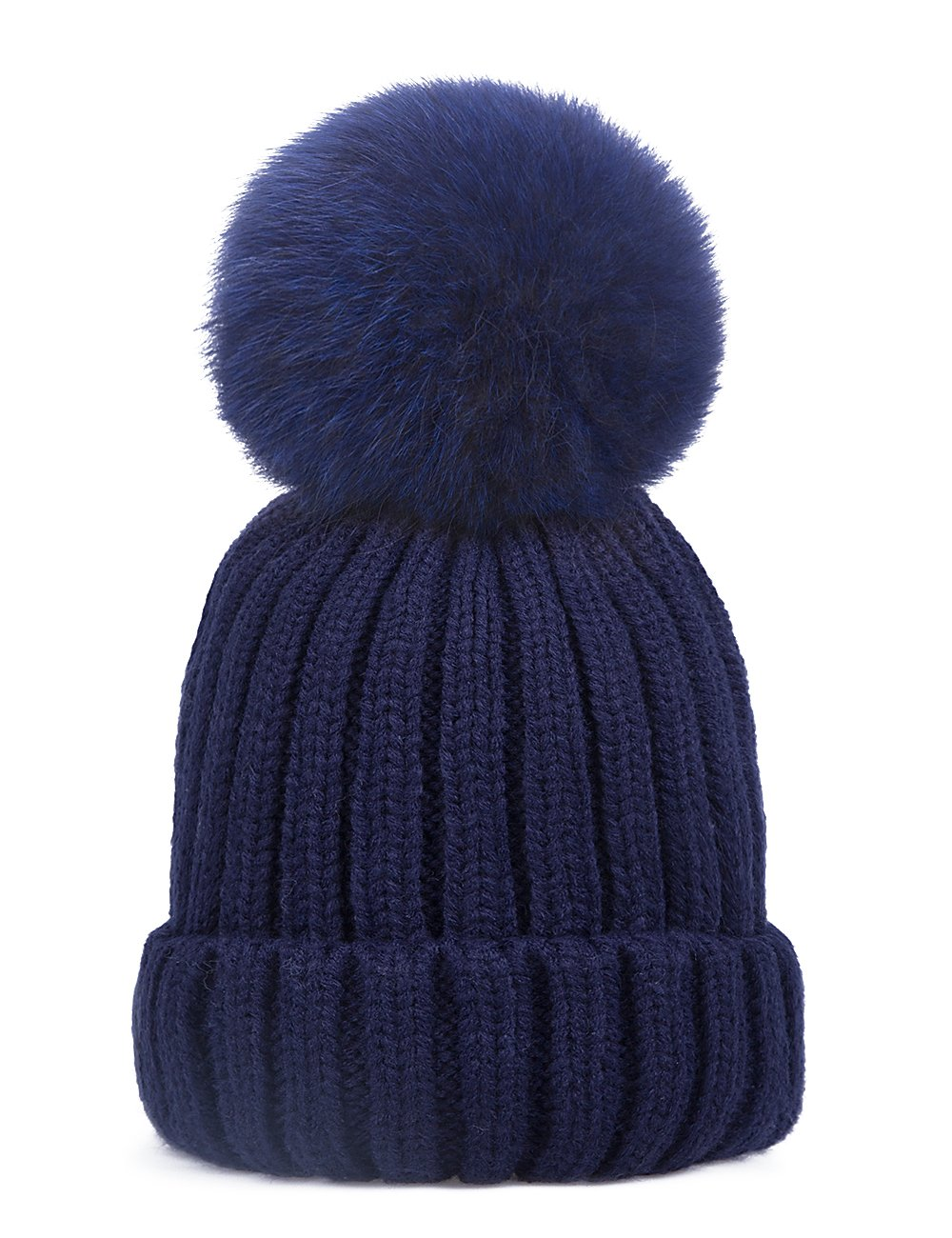 EVRFELAN Winter Hand Faux Fur Hat Pompoms Beanie Cable Knit Warm Family Crochet Ski Skull Cap for Girls (fox dark blue)