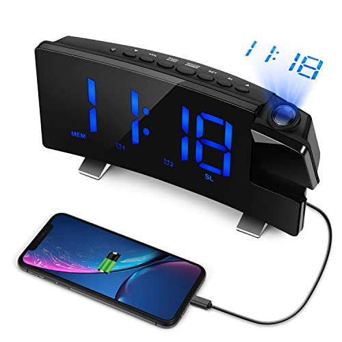 LC.IMEEKE Projection Alarm Clock, 7 LED Curved-Screen Large Digital Display, Adjust Brightness Automatically, 12 24 Hour,Dual Alarm Clock with 2 Alarm Sounds, Projection Clock on Ceiling Blue