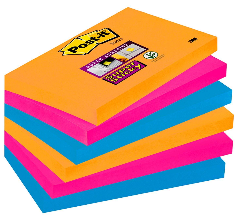 Post-it Super Sticky Lot de 6 Blocs de Notes repositionnables 76 x 127 mm BORA BORA 6556SJ Bloc notes