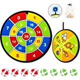 Dart Board Games for Kids, Kids Dart Board Set with 8 Balls, Kids Classic Dartboard with Hook, Outdoor Indoor Games for…