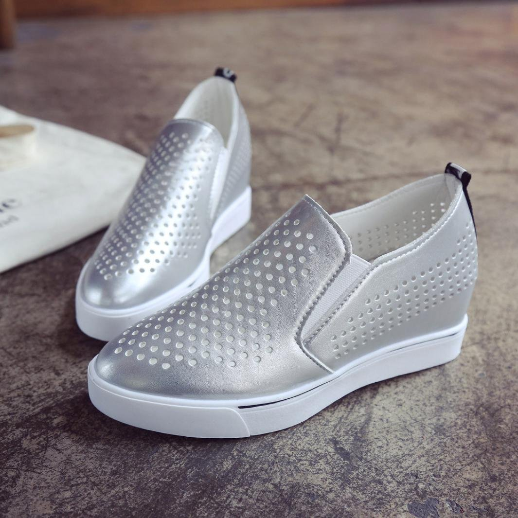 Womens Campus Cut Out Leather Shoes Slip On Increasing Wedges Thick Bottom Shoes Walking Sneakers