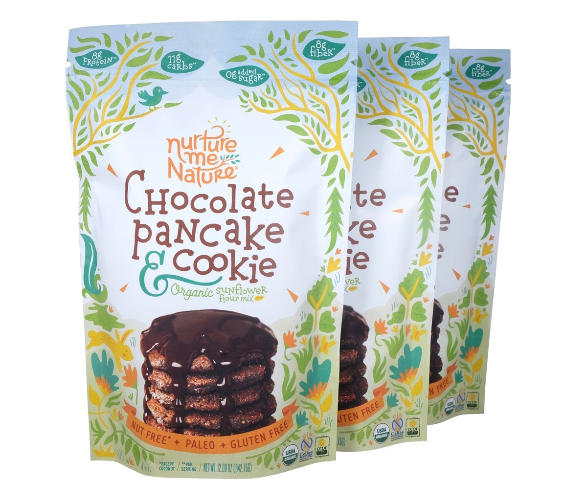 Paleo Nut Free Chocolate Pancake & Cookie Baking Mix / USDA Organic (Pack of 3)