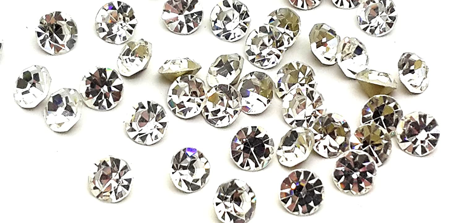 100 x (ss10 (2.8mm), Clear Crystals), Foiled-back Crystals, EIMASS® Point-back Cut Diamond Chatons, Glass Crystals, Glass Rhinestones, Glass Gems, Pack of 100 Diamante