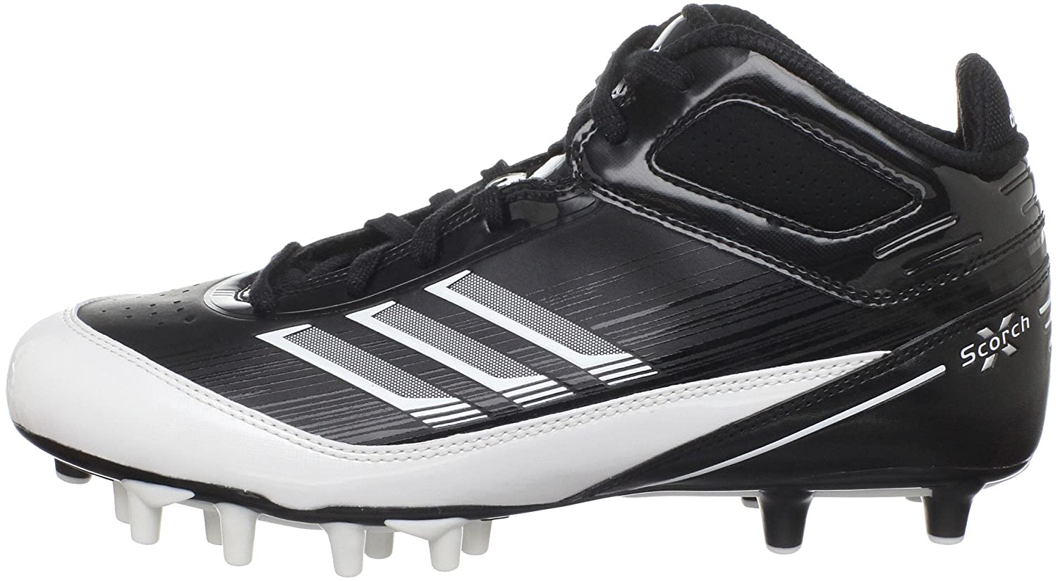 Amazon.com | adidas Men\u0027s Scorch X SuperFly Mid Football Cleat,  Black/White/Metallic Silver, 9 M US | Football