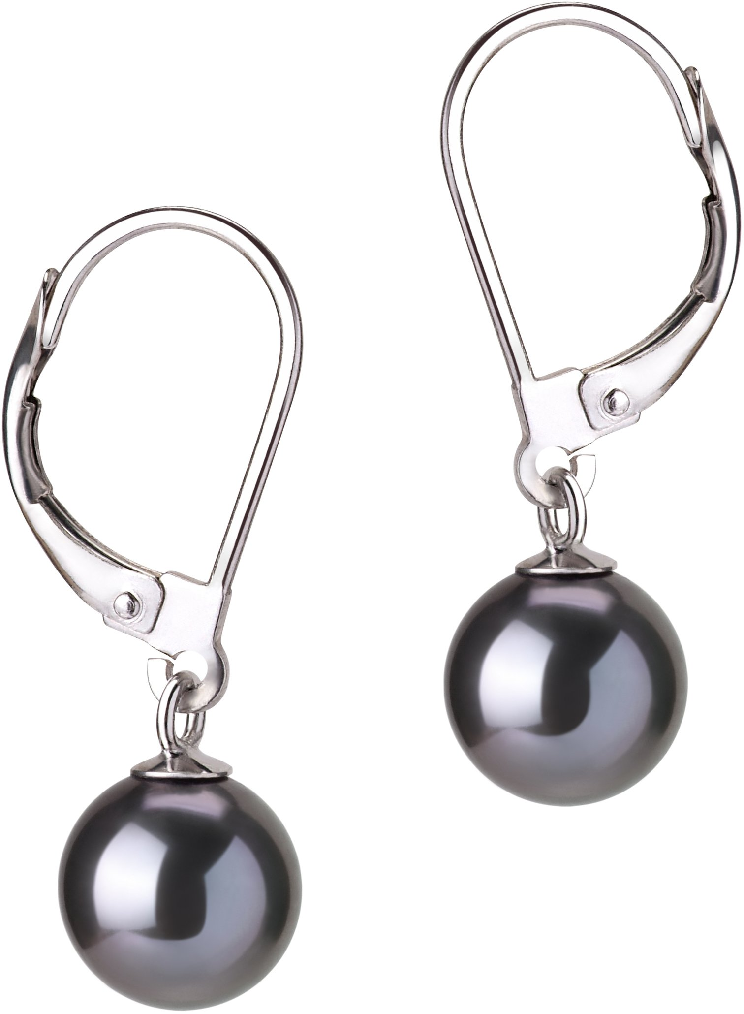 PearlsOnly - Marcella Black 7-8mm AAAA Quality Freshwater Cultured Pearl Earring Pair