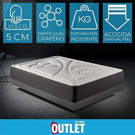 HOME Colchón 90x190cm Viscoelastico Memory Vex Foam 27cm Altura, 5cm viscoprogresion Grafeno