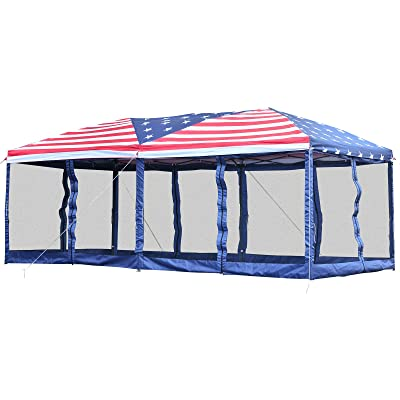 Outsunny 10' x 20' Pop Up Party Tent Gazebo Wedding Canopy with Removable Mesh Sidewalls - American Flag Print : Garden & Outdoor