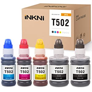 INKNI Compatible Ink Bottle Replacement for Epson 502 T502 Refill Ink Expression ET-2700 ET-2750 ET-3700 Workforce ET-3750 ET-4750 ST-2000 ST-3000 ST-4000 ET-7750 (Black,Cyan,Magenta,Yellow,5-Pack)