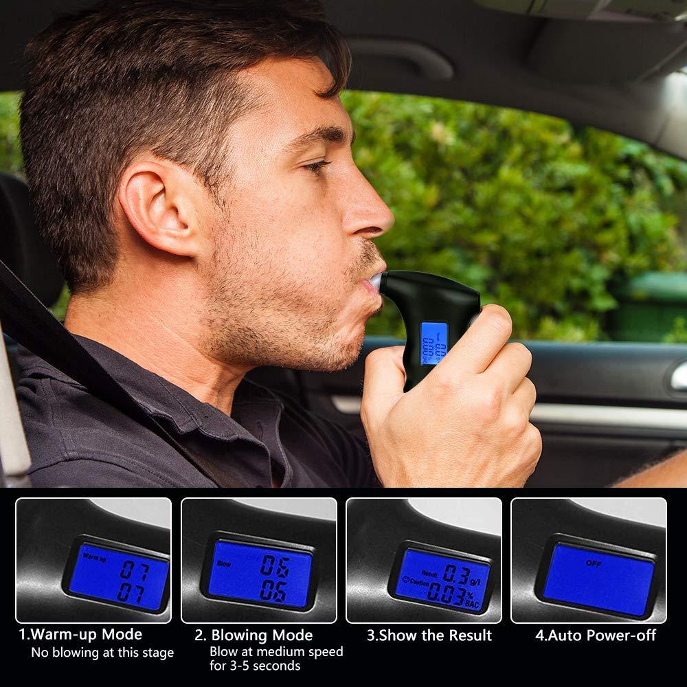 bedee Digitale Etilometro Portatile, Alcool Test Professionale con Schermo LCD Display, Bocchini 5 Pezzi, Nero