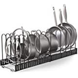 Vdomus Extensible Pot Rack Organizer with 4 DIY Methods, Length Adjustable and Max Extended to 31 inches 13+ Pans Holder, Bla