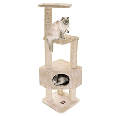 Majestic Pet Casita árbol con rascador para Gatos, 132 cm, Color Beige, multinivel