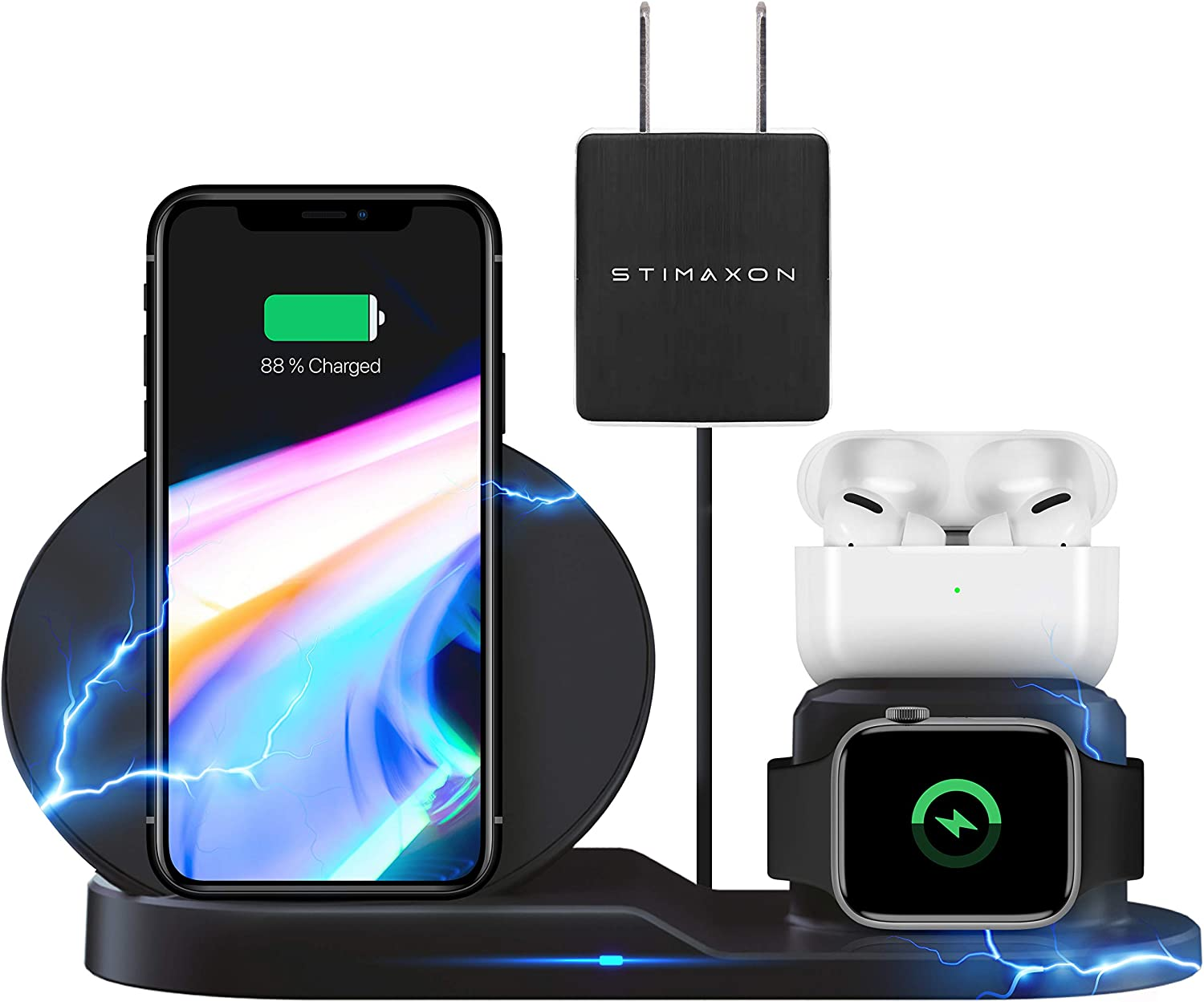 STIMAXON Wireless Charger Station, 3 in 1 Qi-Certified Fast Multi Charging Dock Stand Accessories Compatible with iPhone 11 Pro XS XR X iWatch SE 6 5 4 3 2 1 Galaxy S20 S10 S9 S8 Note