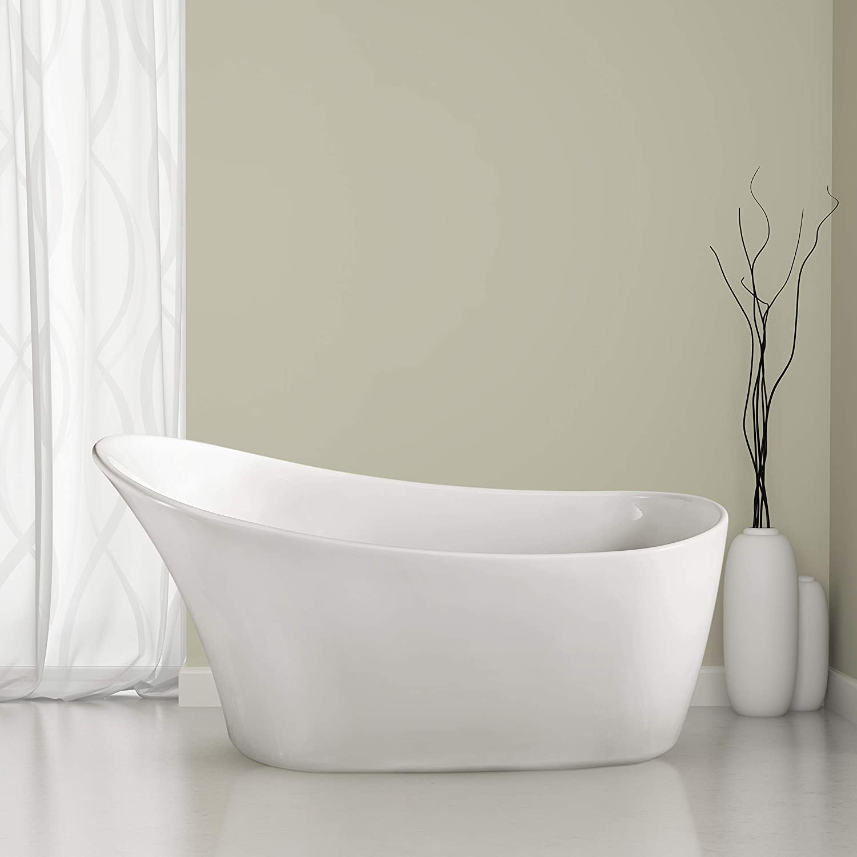 Streamline Freestanding Soaking 59 N 820 59fswh Fm Acrylic Bathtub White Comes With Internal Drain Bamboo Tray Included Amazon Com