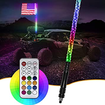 "60/"" 5FT RGB Lighted 5050 LED Light Whip Quick Release w// Remote Offroad 1Pc A"