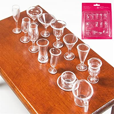 Odoria 1:12 Miniature 14PCS Clear Tea Cups and Wine Cups Set Dollhouse Kitchen Accessories